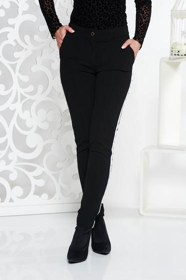 Fekete Fofy casual kónikus nadrág enyhén rugalmas anyag