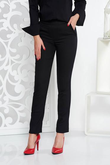 Fekete Fofy irodai nadrág kónikus enyhén elasztikus szövet zsebekkel