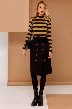 Fekete PrettyGirl casual magas derekú szoknya egyenes bársonyos anyag gomb kiegészítőkkel