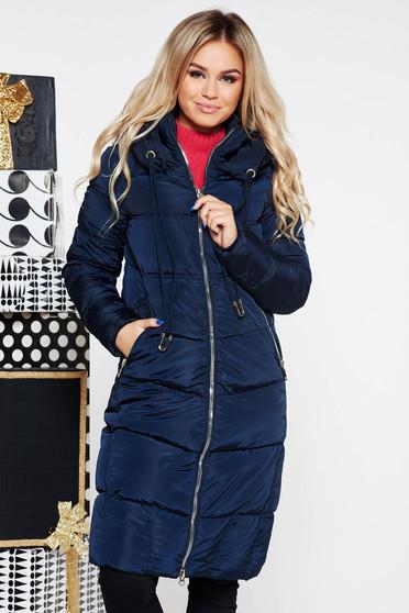 Sötétkék casual vízhatlan dzseki belső béléssel a kapucni nem távolítható el