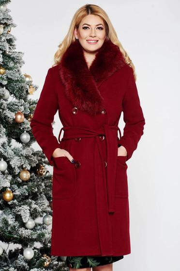 Burgundy LaDonna elegáns egyenes gyapjú nagykabát szőrme gallér