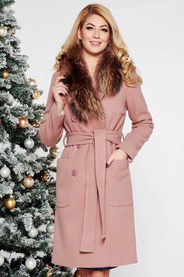 Rózsaszínű LaDonna elegáns egyenes gyapjú nagykabát szőrme gallér