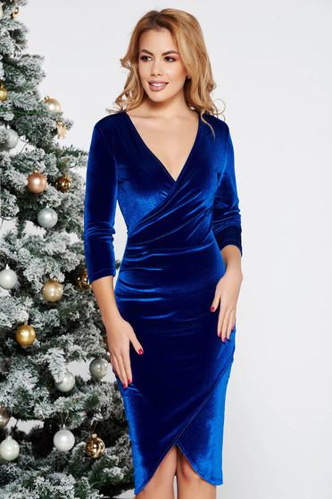 Kék StarShinerS alkalmi midi átfedéses szűk szabás bársony v-dekoltázzsal ruha