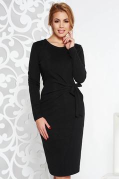 Fekete StarShinerS elegáns midi ruha kötött anyag lamé szállal szűk szabás hosszú ujjakkal
