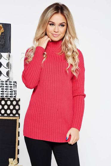 Pink casual pulóver magas nyakú szűk szabás kötött anyag