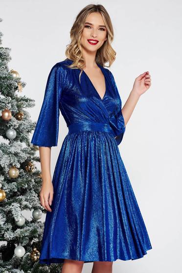 Kék StarShinerS alkalmi harang ruha fényes anyag belső béléssel v-dekoltázzsal