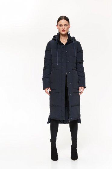 Sötétkék Top Secret casual hosszú vízhatlan dzseki egyenes szabás eltávolítható kapucni