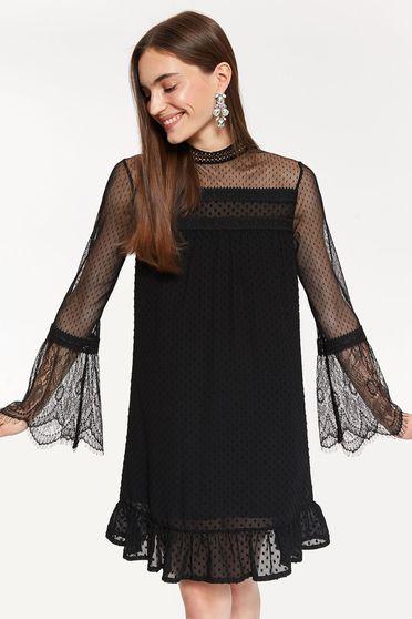Fekete Top Secret alkalmi hosszú ujjú tüll ruha egyenes szabás csipke díszítéssel
