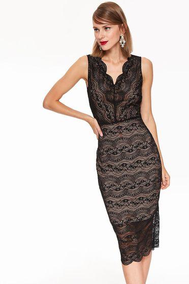 Fekete Top Secret alkalmi ceruza ruha csipkés anyag v-dekoltázzsal