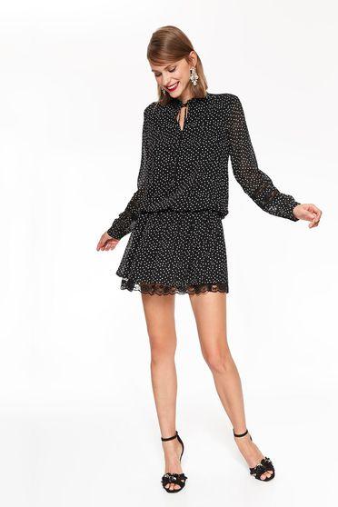 Fekete Top Secret elegáns bő szabású ruha nem rugalmas anyag pöttyökkel csipke díszítéssel