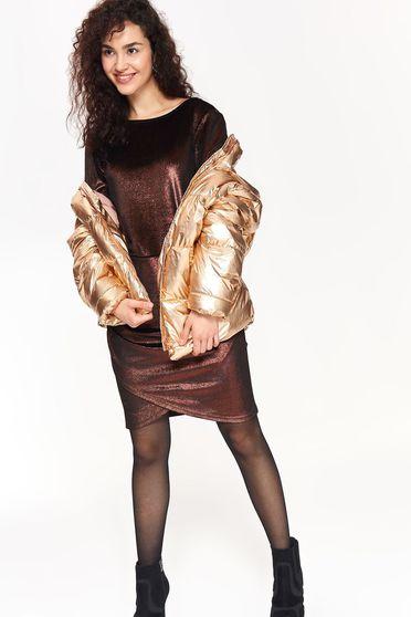 Arany Top Secret casual dzseki egyenes szabás fémes jelleg vízhatlan