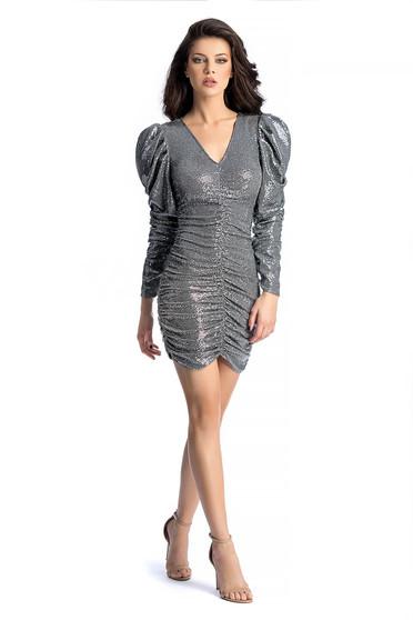 Ezüst Ana Radu alkalmi flitteres ruha szűk szabás