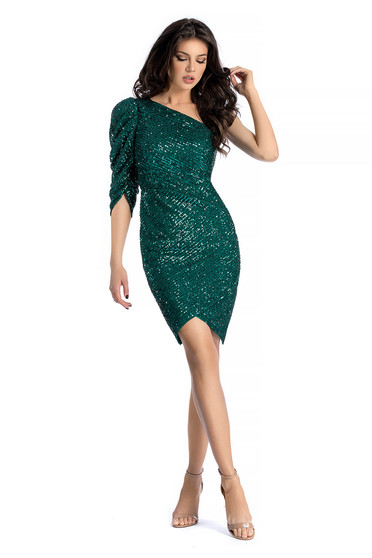 Zöld Ana Radu alkalmi flitteres ruha szűk szabás