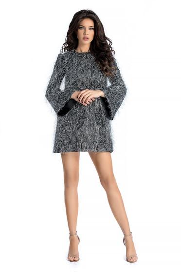Ezüst Ana Radu alkalmi bő szabású ruha szatén anyagból 9bb9b38f32