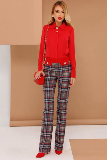 Piros PrettyGirl bővülő irodai nadrág enyhén elasztikus szövet