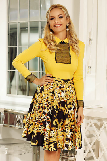 Sárga Fofy irodai női ing enyhén elasztikus pamut szűk szabás
