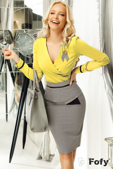 Sárga Fofy irodai női ing szűk szabás enyhén elasztikus pamut v-dekoltázzsal