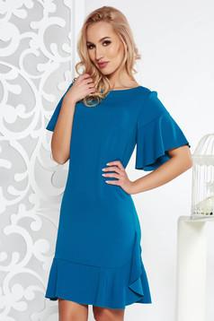 Türkiz elegáns bő szabású ruha enyhén elasztikus szövet belső béléssel fodrok a ruha alján