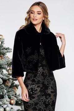 Fekete LaDonna hímzett alkalmi műszőrme kabát belső béléssel