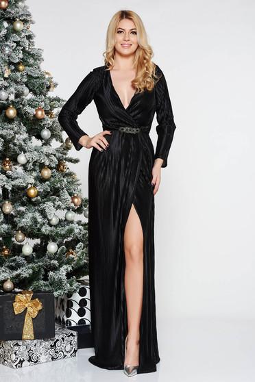 Fekete Artista alkalmi ruha bársonyos anyag v-dekoltázzsal övvel ellátva