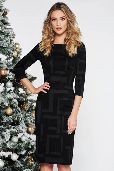 Fekete elegáns midi ruha enyhén elasztikus pamut szűk szabás háromnegyedes ujjakkal