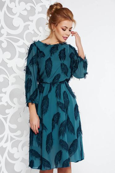 Sötétzöld elegáns midi harang ruha fátyol anyag belső béléssel derékban rugalmas