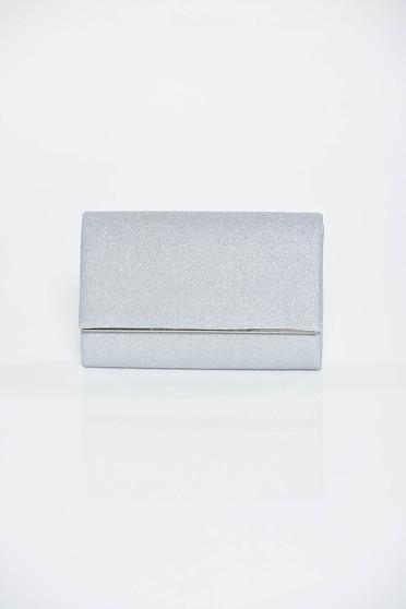 Ezüst táska alkalmi fényes anyag