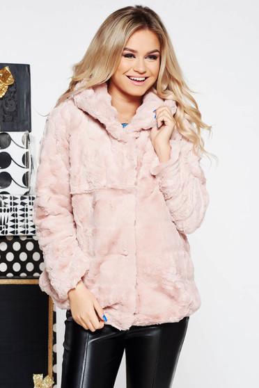 Rózsaszínű SunShine party szőrme műszőrme belső béléssel a kapucni nem távolítható el