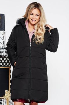 Fekete SunShine casual vízhatlan dzseki belső béléssel műszőrme díszítés zsebes