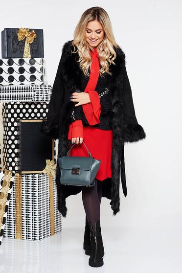 Fekete SunShine szintetikus fordított bőr dzseki egyenes szabás zsebes övvel ellátva bundabélessel ellátva