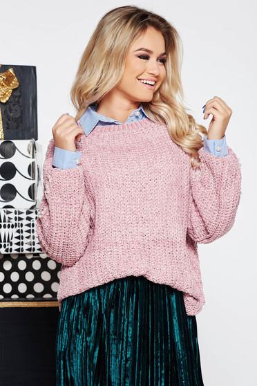 Rózsaszínű SunShine casual bő szabású pulóver kötött anyag bársonyos anyag gyöngy díszítéssel