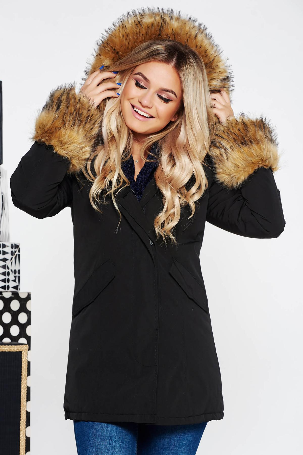 27a54787c1 Fekete SunShine casual dzseki zsebes vízhatlan belső béléssel műszőrme  díszítés