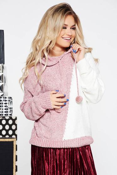 Rózsaszínű SunShine casual kapucnis bő szabású pulóver kötött anyag bársonyos anyag