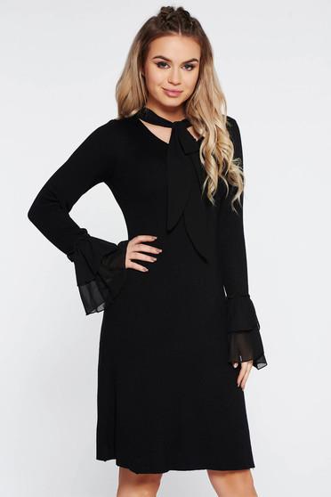 Fekete SunShine party ruha szűk szabás kötött anyag harang ujjakkal