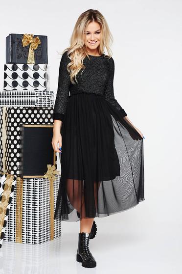 Fekete SunShine casual midi ruha kötött anyag belső béléssel lamé szállal