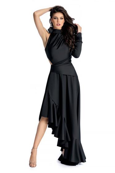 Fekete Ana Radu ruha asszimmetrikus szabással szatén anyagból övvel ellátva