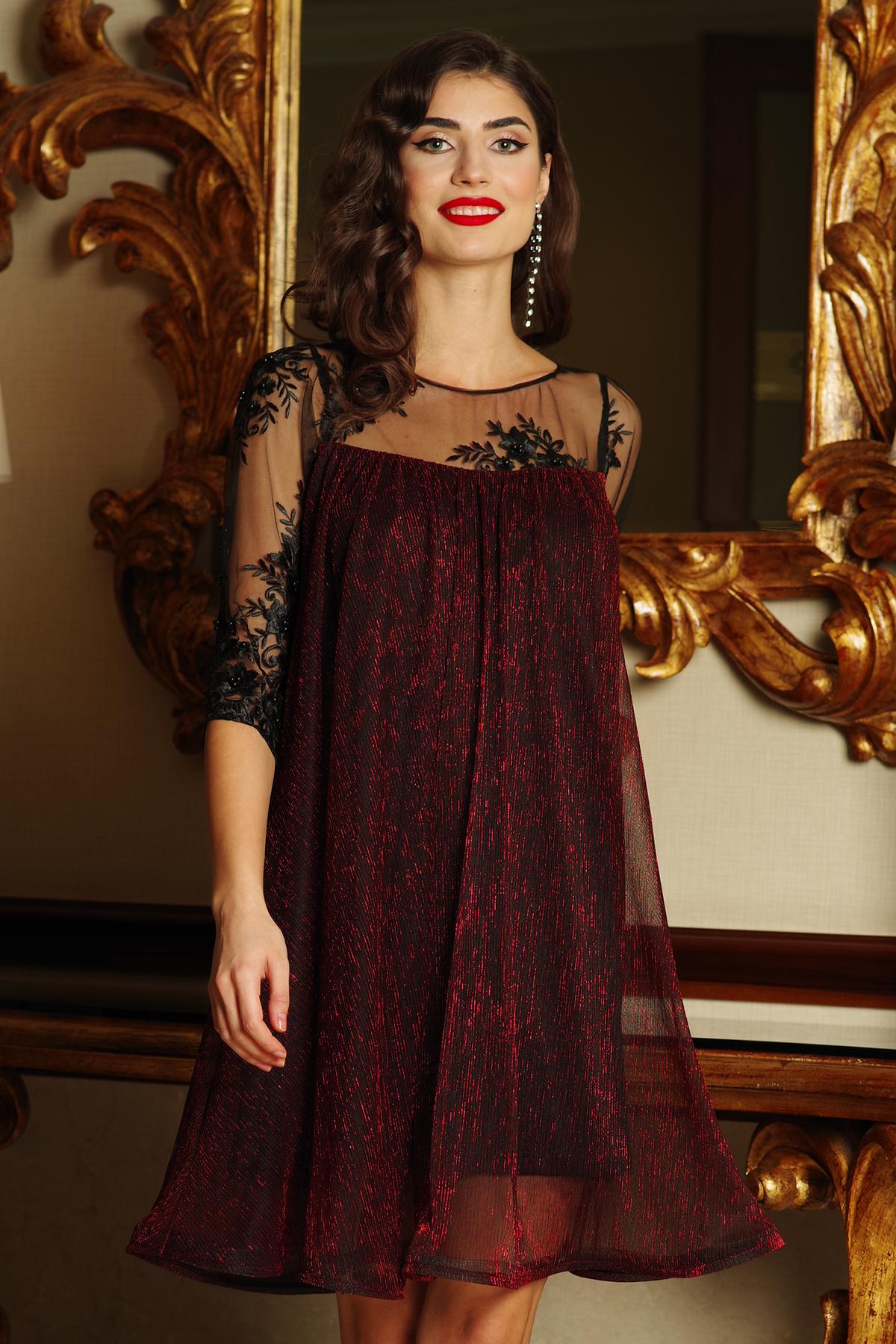 a6e8077108 Burgundy Artista alkalmi bő szabású ruha vékony anyag belső béléssel csipke  ujj lamé szál