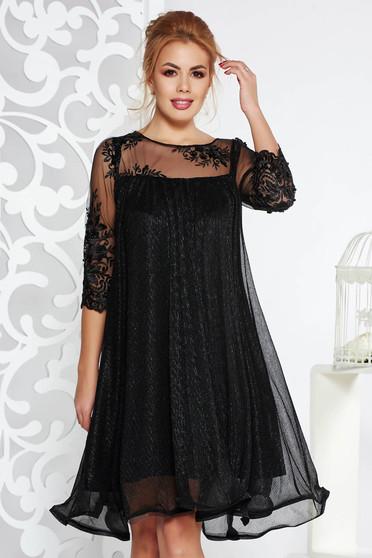 Fekete Artista alkalmi bő szabású ruha vékony anyag belső béléssel csipke ujj lamé szál