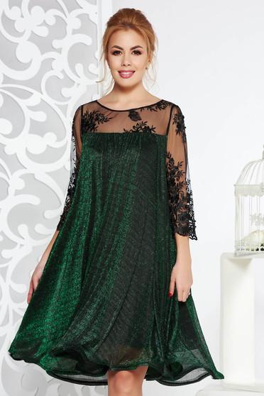 Zöld Artista alkalmi bő szabású ruha vékony anyag belső béléssel csipke ujj lamé szál
