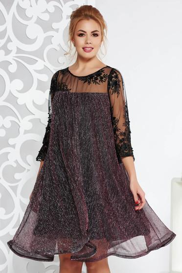 Rózsaszínű Artista alkalmi bő szabású ruha vékony anyag belső béléssel csipke ujj lamé szál