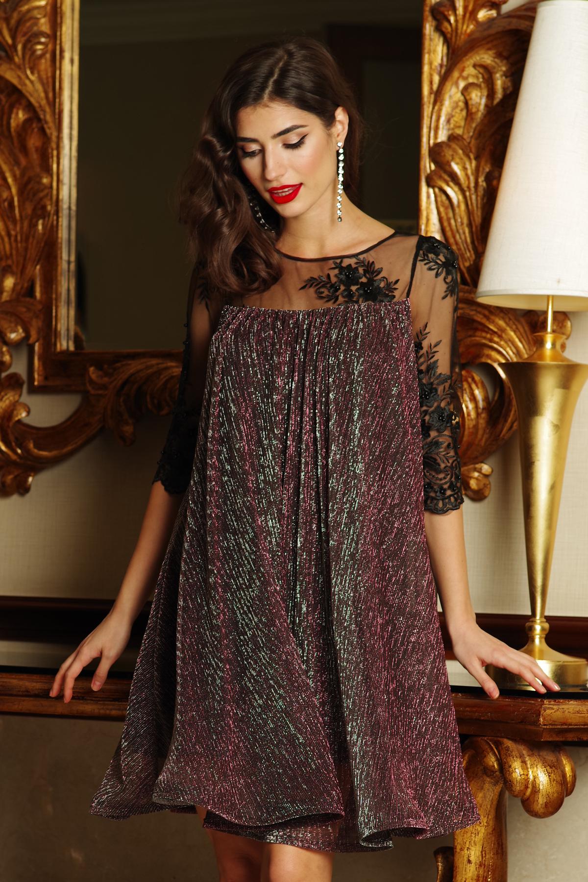 38343e701a Rózsaszínű Artista alkalmi bő szabású ruha vékony anyag belső béléssel  csipke ujj lamé szál