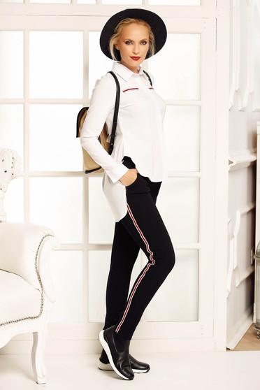 Fehér Fofy casual bő szabású női ing enyhén elasztikus pamut asszimmetrikus