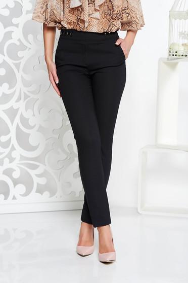 Fekete Fofy irodai kónikus nadrág enyhén elasztikus szövet fém díszítésekkel