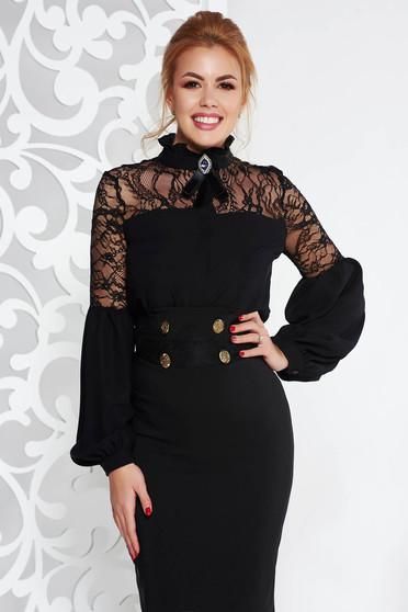 Fekete Fofy elegáns bő szabású női blúz csipke díszítéssel
