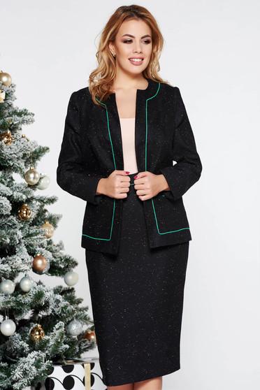 Sötétzöld irodai gyapjú női kosztüm belső béléssel
