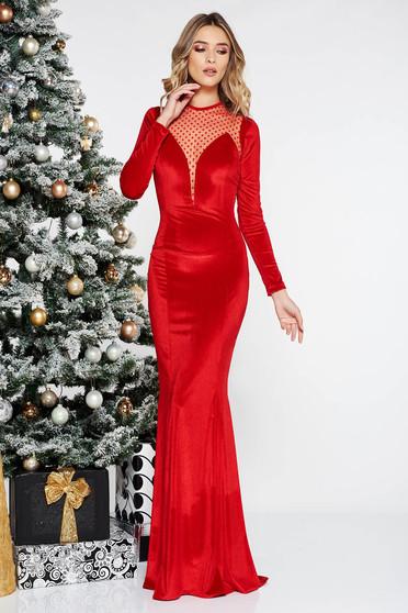 Piros alkalmi hosszú bársony ruha szirén tipusú tüll hosszú ujjak 0de50a2fcc
