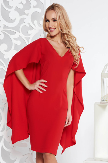 Piros elegáns midi ceruza ruha rugalmatlan szövet v-dekoltázzsal