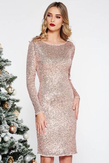 Rózsaszínű StarShinerS party midi ruha szűk szabás flitter belső béléssel