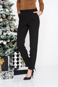 Fekete StarShinerS irodai kónikus nadrág enyhén elasztikus szövet normál derekú zsebes