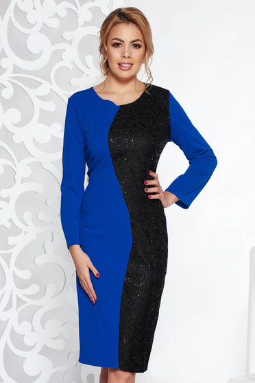 Kék elegáns midi ruha enyhén rugalmas anyag flitteres díszítéssel